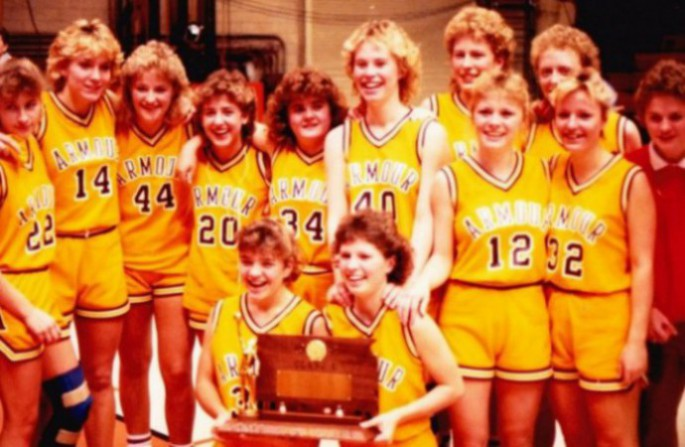 The Armour Packers of 1987, after winning their fifth consecutive Class B state girls title, were, from left, kneeling, Rita Freidel and Bonnie Hrdlicka. Middle, Jodi Pipes, Dana Nielsen, Jennifer Hawley, Tammy Weisser, Peggy Leonard, Christa VanZee, Meg Nase and Krista McFarland. And back, Michelle Kelly, Nicole DeVries and manager Amy Stern.