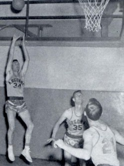 Delbert Gillam (34) scored 72 points in a single game for Argonne during 1953.